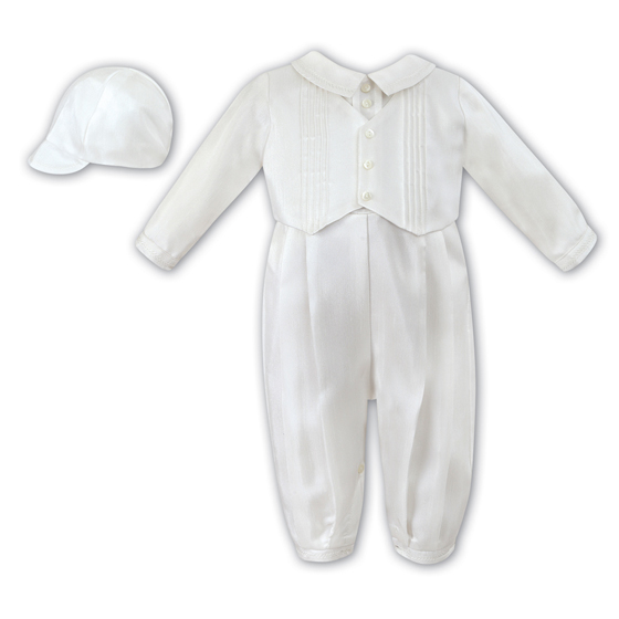 Sarah Louise Boys Christening Romper & Hat 2217