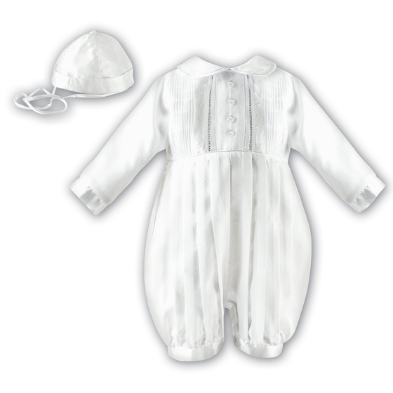 Sarah Louise Boys Christening Romper & Hat 2232