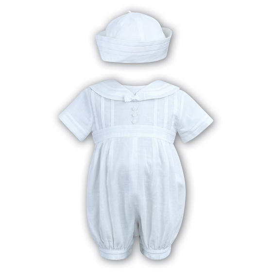 Sarah Louise Boys Christening Romper & Hat 2235