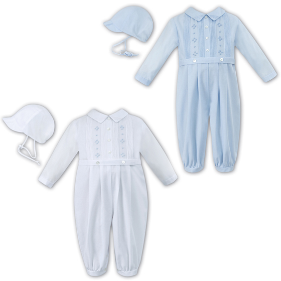 Sarah Louise Boys Christening Romper and Hat 10698