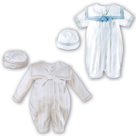 Sarah Louise Boys Christening Romper & Hat 238