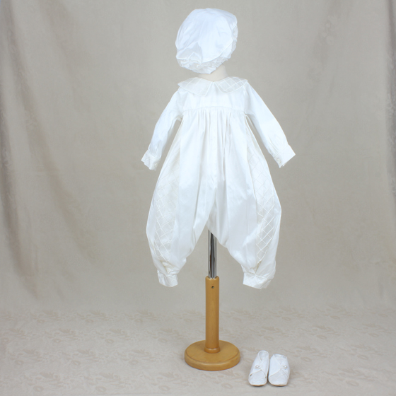 Delicate Elegance Boys Christening Romper, Gown and Hat 4232