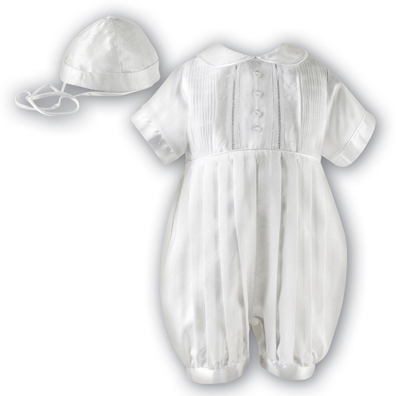 Sarah Louise Boys Christening Romper & Hat 232