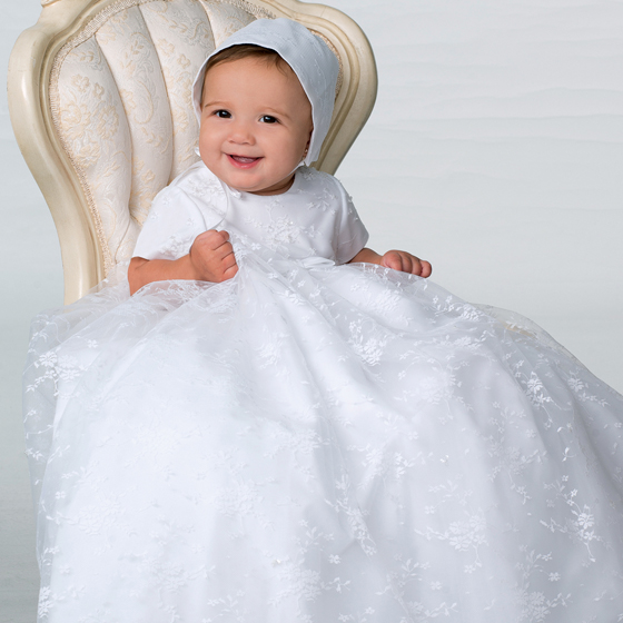 Sarah Louise Christening Gown and Bonnet - 1092
