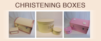 Different sizes of Christening boxes
